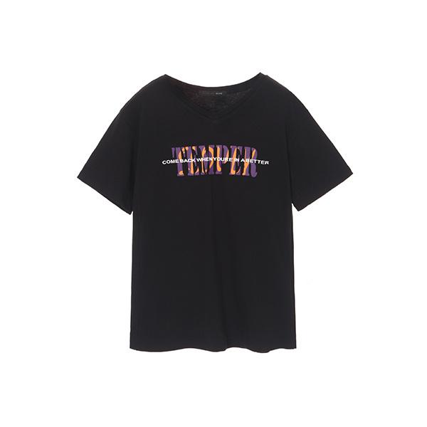 심플 V넥 레터링 티셔츠 OW8AZ0080
