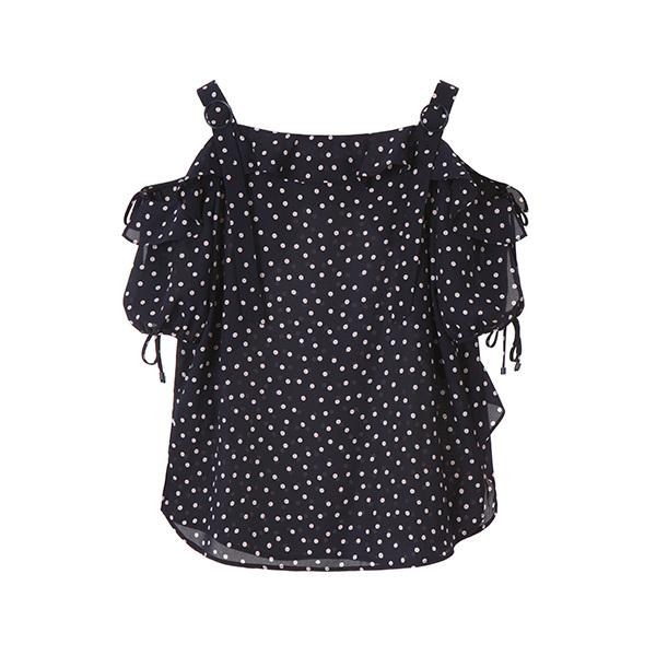 dot frill off shoulder blouse OW8MB4300
