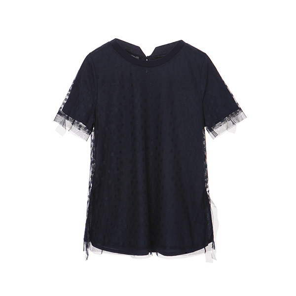 dot lace fabric sheer blouse OW8MB5420