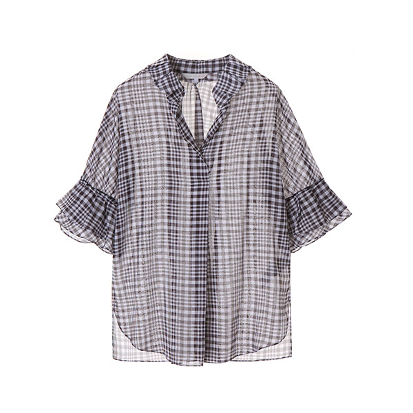 pleats collar check blouse OW8MB572S