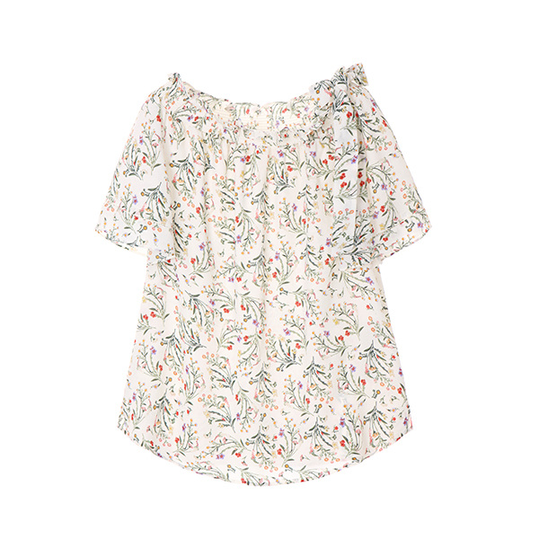 flower print chiffon off shoulder blouse OW8MB9090