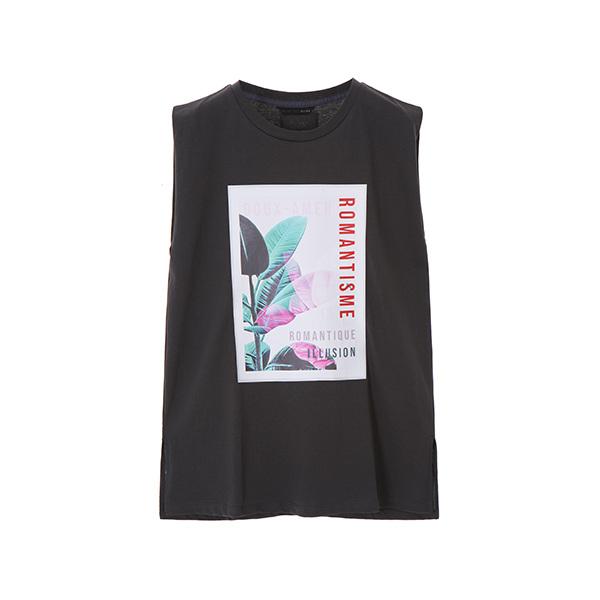 frame print sleeveless T-shirts OW8ME547