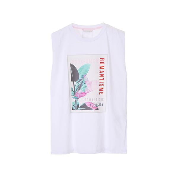 frame print sleeveless T-shirts OW8ME5470