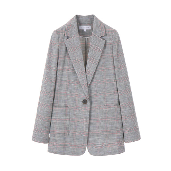 linen modern check jacket OW8MJ5090