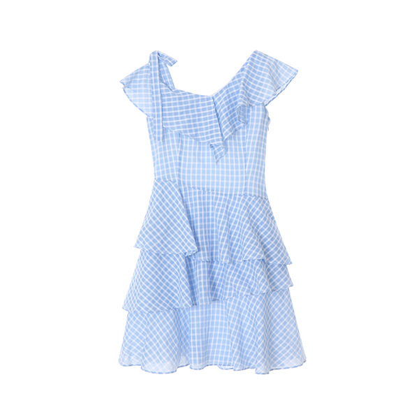 unbalance check dress OW8MO4770