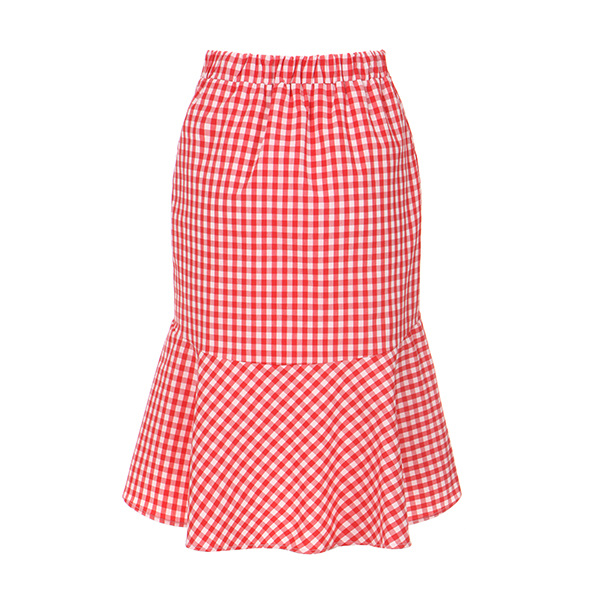 check frill banding skirt OW8MS410