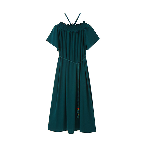 off-shoulder jersey long dress OW8MO6030