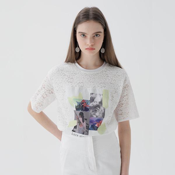 온앤온[온앤온] 프린트 패치 레이스 티셔츠 NW9ME1840
