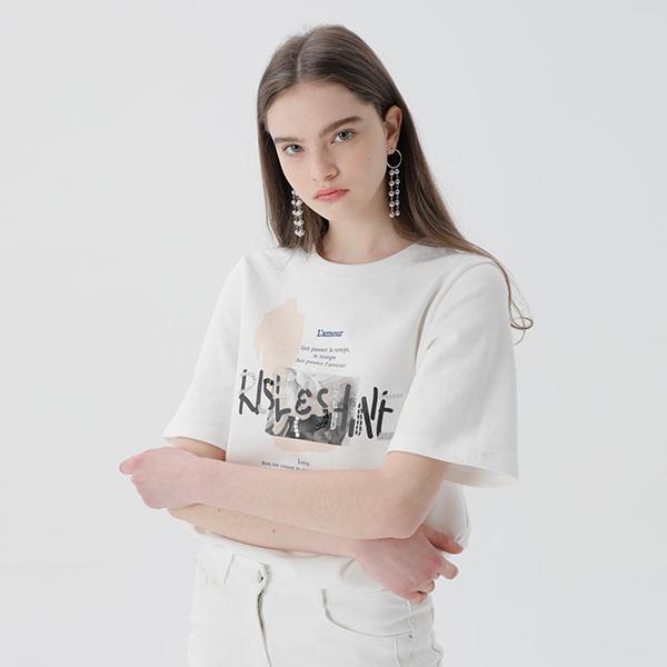 온앤온[온앤온] 레터링 스팽클 티셔츠 NW9ME7030
