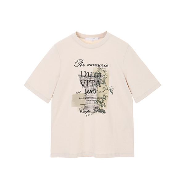 자수프린팅 라운드 티셔츠 NW8AE1480