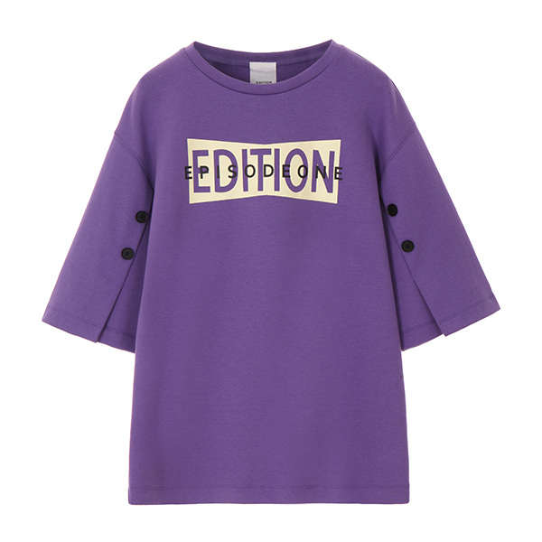 온앤온에디션SLEEVE BUTTON T-SHIRT_PURPLE NE8SE0890