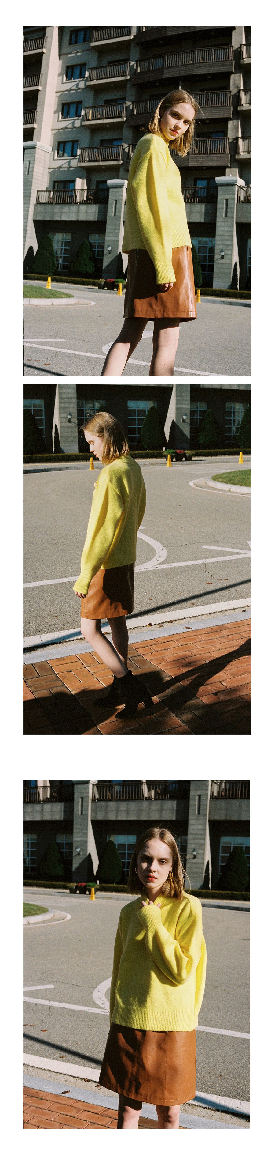 레이브(RAIVE) Oversized High Neck Knit (Yellow)_VK8WP0510