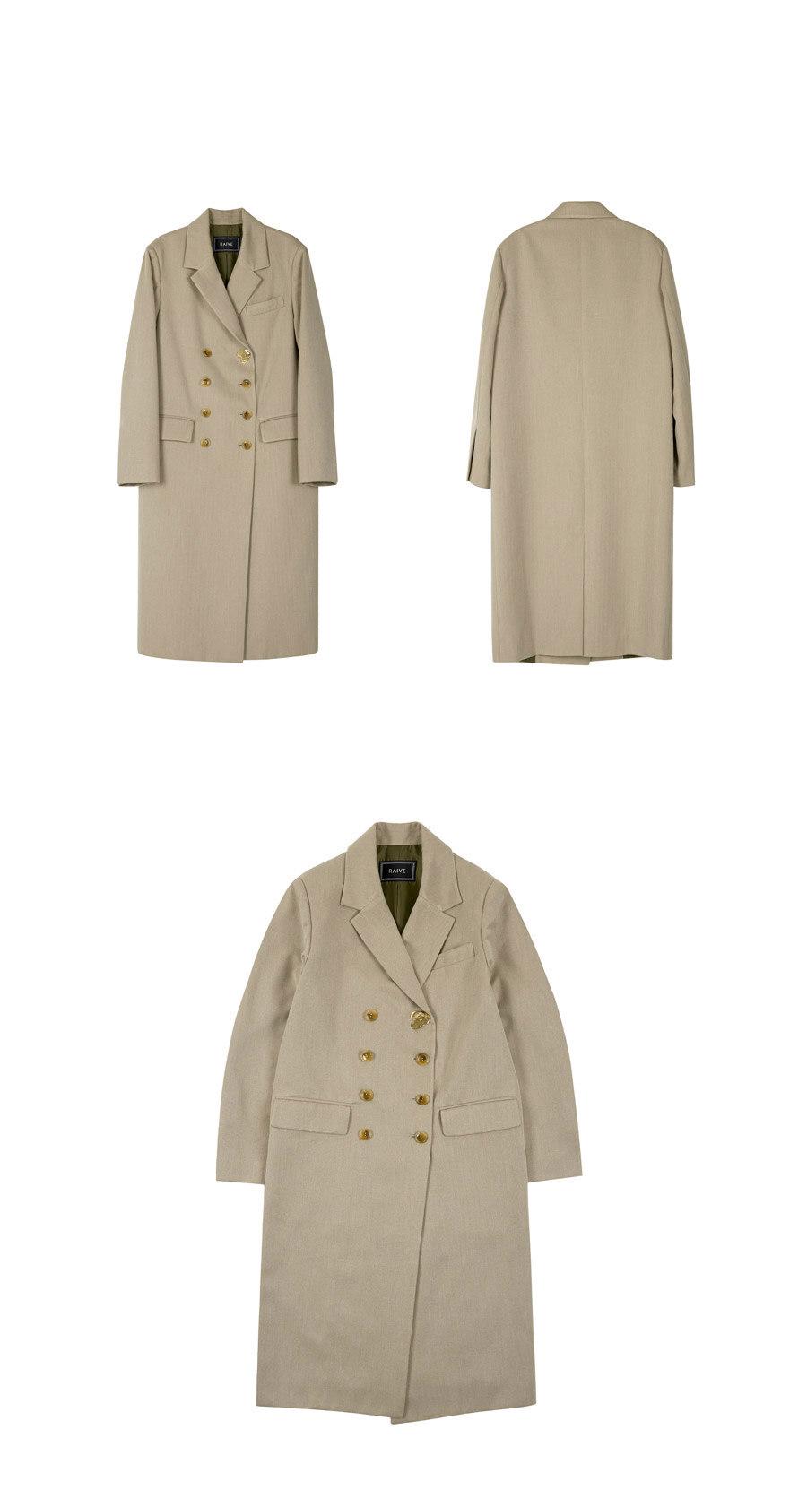 레이브(RAIVE) Ornament Maxi Double Jacket (Beige)_VW8AJ0210