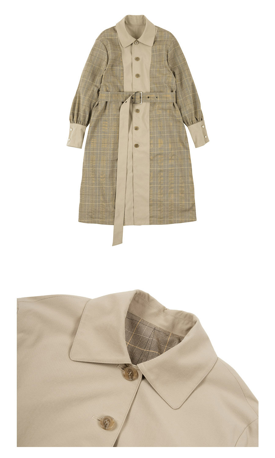 레이브(RAIVE) Puff Sleeve Trench Coat (Beige+Check)_VW8AR0120