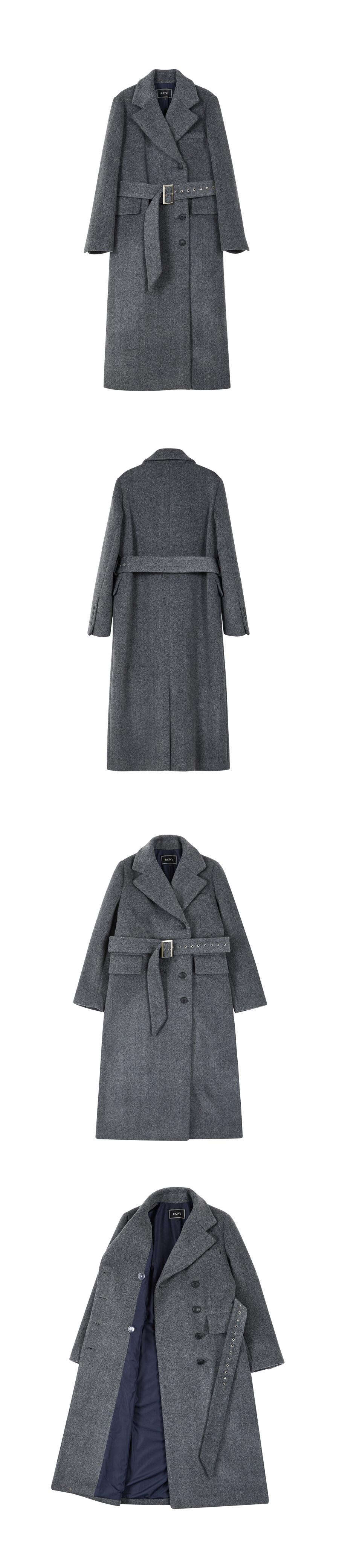 레이브(RAIVE) Maxi Long Belted Coat (D/Grey)_VW8WH0080