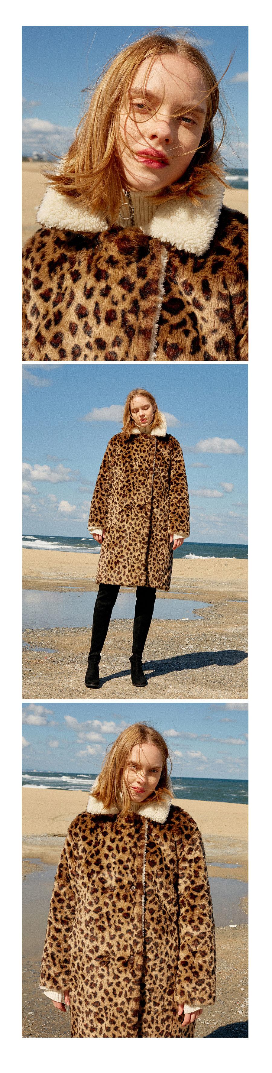 레이브(RAIVE) Leopard Faux Fur Coat (Brown)_VW8WH0100