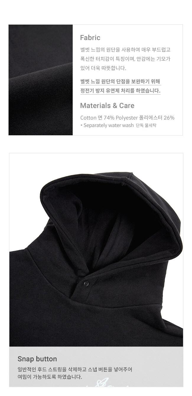레이브(RAIVE) Snap Button Hoodie in Black_VW9WE0840