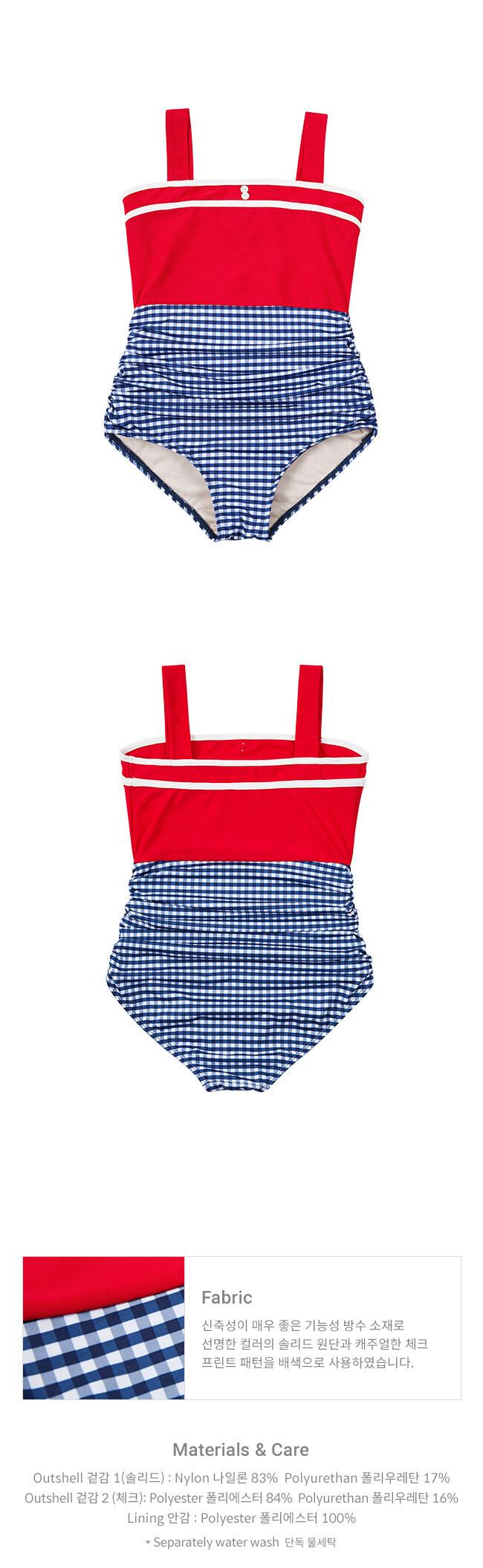 레이브(RAIVE) Color Block Vintage OP Swimsuit in Red_VW9MX0960