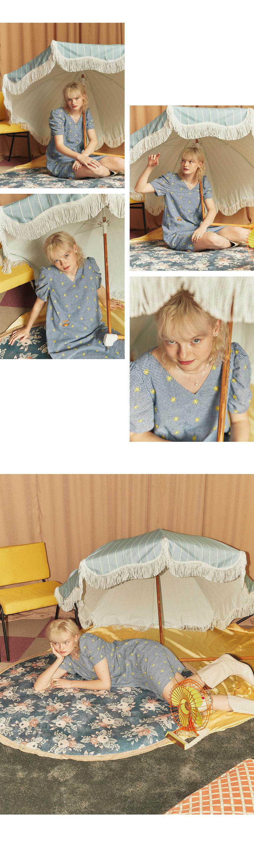 레이브(RAIVE) RAIVE X PIPPI Embroidery Check One Piece in Navy_VW0MO1770